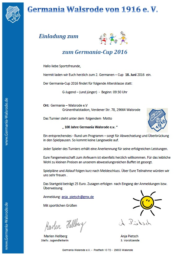sg germania walsrode - u9: f1-jugend (jg.2009), Einladung